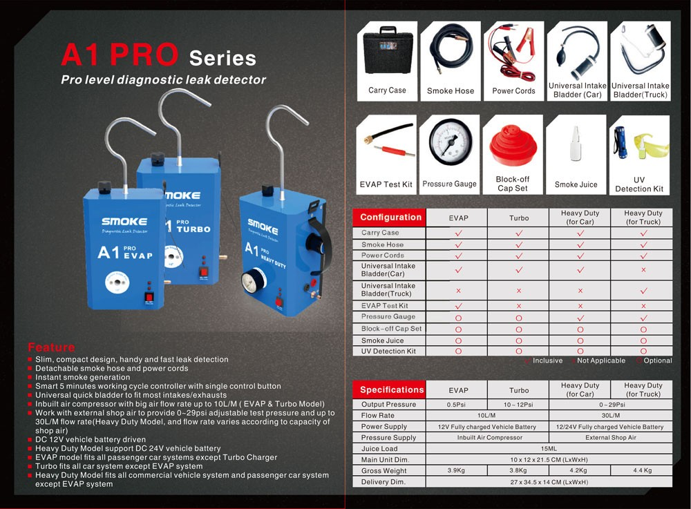 Smoke A1 Pro Automotive Leak Detector