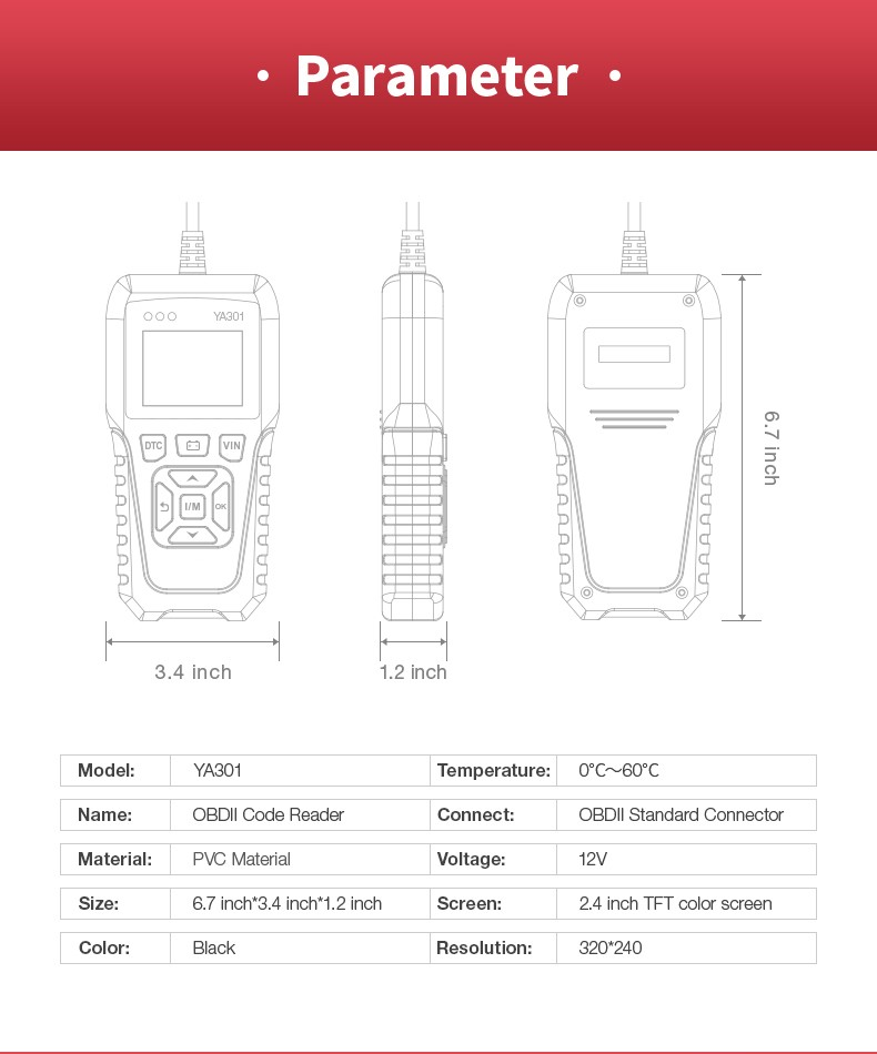 YA301 OBDII Code reader Scan Tool